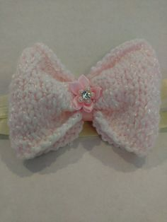 Infants Large Pink Hand Knit Hair Bow with by SnugglebuggKnit