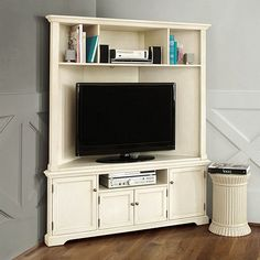 Reston Corner Media Console with Hutch & corner entertainment center - like how itu0027s built out of the wall ...