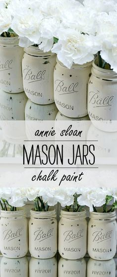 Painted Mason Jars: Painted & Distressed in Annie Sloan Chalk Paint in Old White
