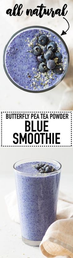 A Blue Smoothie made with Butterfly Pea Tea Powder. Yummy bananas, nutritious hemp seeds, almond milk and tea powder is all you need for this amazing blue-colored smoothie! #smoothie #bluesmoothie #butterflypeateapowder via @greenhealthycoo