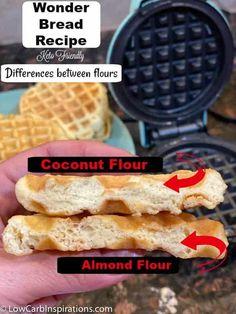 Ketogenic Recipes, Low Carb Recipes, Ketogenic Diet, Bread Recipes, Wonder Bread Recipe, Recipes Using Coconut Flour, Coconut Flour Waffles, Keto Flour, Aperitivos Keto