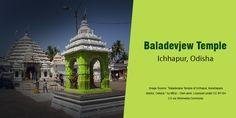 The Baladevjew Temple in Icchapur is dedicated to Lord Balarama. The temple also deifies Lord Jagannath and Goddess Subhadra in the Ratna Sinhasan and Goddess Tulsi ahead of the seven sacred steps. The temple complex comprises four shrines - Bada Deula or Sri Mandir, Majhi Mandir or Bhog Mandap, Jagamohan or Natya Mandir and Bata Mandir or Mukhashala. #TempleTrivia