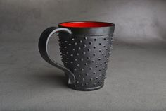 Spiky Mug Made To Order Black and Red by symmetricalpottery, $35.00