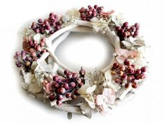 Decorations in the form of berries will attract your attention with an almost natural look. It is made of po… STOKLASA - here for you since 1990 Haberdashery, Natural Looks, Burlap Wreath, Christmas Wreaths, Berries, Floral Wreath, Holiday Decor, Inspiration, Fabrics