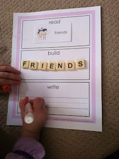 Read, Build, Write. Love the idea of using Scrabble tiles! Instead of printing out worksheets, this can be a part of writing journal. Draw a big picture of the paper on white board or easel.