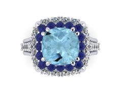 Cushion Cut Aquamarine Engagement Ring Diamond Wedding Ring Blue Sapphire 14K White Gold Ring March Birthstone Gemstone Ring Gems - V1096 by JewelryArtworkByVick on Etsy