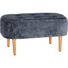 Blue Velvet Rectangular Footstool
