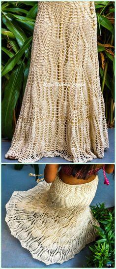 Crochet Devine Long Pineapple Skirt Free Pattern - Crochet Women Skirt Free Patterns