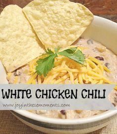 White Chicken Chili @glutenfreemakeover.com. I have a pot of this on right now. It's in my top 10 list of the most delicious recipes I've found on here. (I add white beans to our's instead of the black beans)