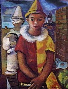 Arlequins(1941) - Oil on Canvas - Di Cavalcanti.