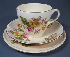 Shabby vintage trio Swinnertons Harvest English bone china roses