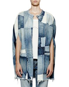 Saint Laurent patchwork-denim cape. Round neckline. Arm slits. Front slip…