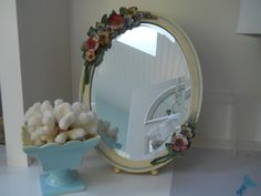 """Fab Barbola Mirror I found in England and sold to my best """"VIntage Enjoyables"""" customer. Luckily, I still get to see it at her house...along with the Aqua Hull Pottery she also got from """"Vintage Enjoyables."""""""