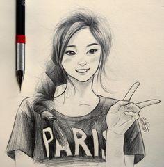 Tzuyu sketch fanart Kpop Drawings, Pencil Art Drawings, Realistic Drawings, Art Sketches, Christina Lorre Drawings, Magical Photography, Drawing People, People Drawings, Manga Hair