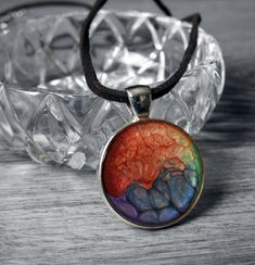 Mountain Sunset Necklace - Painted Sunset Necklace - Hiking Necklace - Camping Necklace - Sunset Pendant - Rainbow Jewelry - Unisex Jewelry by KayBejeweled on Etsy