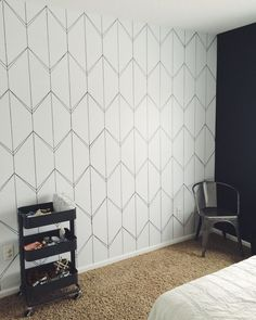 Accent Walls DIY Faux Wallpaper Accent Wall Statement Wall DIY Wallpaper Laminate Flooring: The Basi Wallpaper Accent Wall Bathroom, Accent Wall Bedroom, Diy Wallpaper, Geometric Wallpaper, Pattern Wallpaper, Adhesive Wallpaper, Wallpaper Designs For Walls, Geometric Wall Paint, Master Bedroom