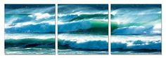 Turbulent Tides 48 x 16 inches Ready to Hang Contemporary Art Modern Wall Decor 3 Panel Wood Mounted Giclee Canvas Print A1298 *** Click image to review more details.