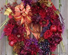 Fall Door Wreath Silk Floral Red Purple by cottagecraftsonline, $125.00