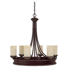 Photon 6 Light 30.25'' Weather Brown Incandescent Chandelier With Rust Scavo Glass at Menards