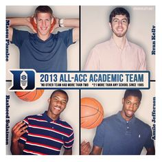 2013 Duke All ACC Academic Team.....Duke Basketball Oh yeah! Mase, Ryan, Sheed, and Amile!!