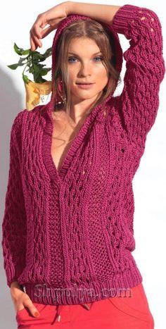 Розовый ажурный пуловер с капюшоном