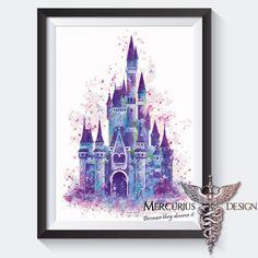 Disney Castle Watercolor Print by MercuriusArtPrints on Etsy