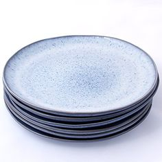 """These sturdy ceramic dinner plates will provide a striking and one-of-a-kind accent to the dinnerware in any home. The glaze is light blue with speckles. You can also find matching sets of six 6"""" blue speckled cereal/soup bowls and six 9"""" individual pasta bowls from Trois Voyageurs... see more details at https://bestselleroutlets.com/home-kitchen/kitchen-dining/dining-entertaining/plates/product-review-for-handmade-ceramic-stoneware-11-dinner-plates-blue-speckled-de"""