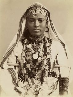 Africa | Bedouin girl in traditional dress.  Egypt | ca. 1843 - 1920 Studio pictures, by Louis Royer and Clovis Aufliere (?) | Farhat Art Museum