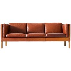 Børge Mogensen 2443 Sofa in Cognac Brown Leather | From a unique collection of antique and modern sofas at https://www.1stdibs.com/furniture/seating/sofas/