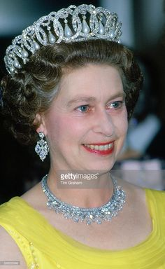 Queen Elizabeth II wears the Russian Tiara and the King Faisal Diamond Necklace at a banquet during an official tour of Germany. (Day date not certain, Tour dates May (Photo by Tim Graham/Getty Images) Royal Crowns, Royal Tiaras, Queen Mother, Queen Mary, Queen Elizabeth Tiaras, God Save The Queen, Prinz Philip, English Royal Family, Isabel Ii