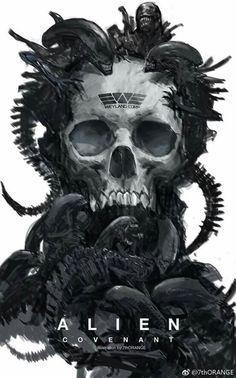 Alien poster by Hr Giger, Giger Alien, Giger Art, Alien Vs Predator, Predator Alien, Arte Alien, Alien Art, Alien Convenant, Alien Skull