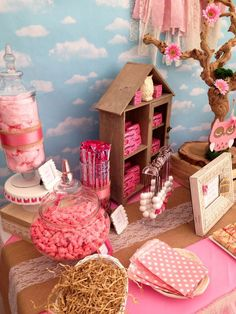 Pink candy at an owl baby shower party! See more party ideas at CatchMyParty.com!