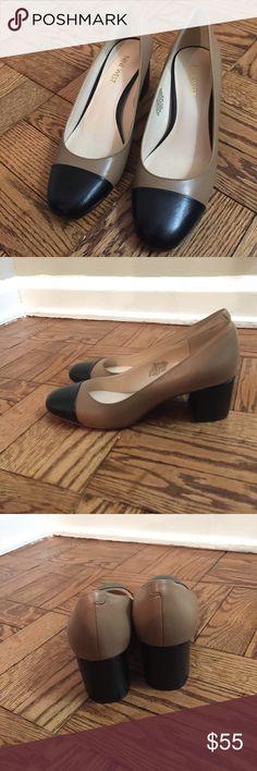 NWT Nine West Cap Toe Pump Size 6 NWT Nine West round cap toe pumps. Color camel and black. Size 6. Genuine leather. 2-inch block heel. Final sale. No box. Nine West Shoes Heels