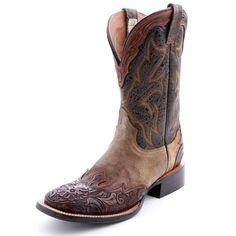 Stetson Horseman Tooled Wing-Tip Cowboy Boots|All Mens Cowboy Boots