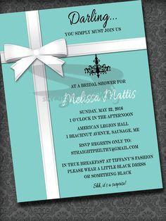 Ideas Breakfast At Tiffanys Brunch Ideas Bridal Shower Invitations For 2019 Tiffany Box, Tiffany Theme, Tiffany Party, Brunch Invitations, Bridal Shower Invitations, Invites, Bridal Shower Rustic, Bridal Showers, Breakfast At Tiffanys Party Ideas