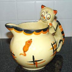 Myott Cat  Jug Orange & Black