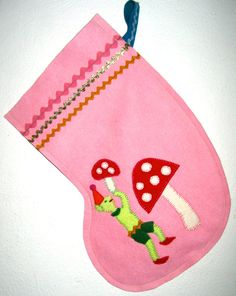 Handmade wool felt Christmas stocking by sweetalicelovesyou