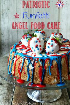 Patriotic Funfetti Angel Food Cake  The perfect dessert for your 4th of July celebrations! #funfetti #4thofjuly #angelfood #cake #dessert