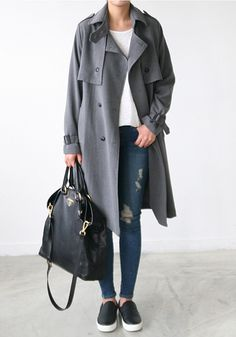 grey trench, distressed denim & sneakers #style #fashion