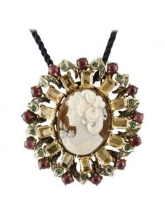 For Sale on - Gorgeous Brooch/ Pendant necklace in rose gold and silver structure composed of a refine carved cameo in the center, yellow topazes crown, rubies crown Pearl Brooch, Silver Brooch, Baroque Pearls, Silver Diamonds, Mother Pearl, Vintage Brooches, Blue Sapphire, Topaz, Rose Gold