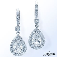 Style 1631 Platinum And Diamond Earrings Handcrafted In A Drop Earring With Stunning Ct Pear Shaped Diamonds Embraced By Round Micro Pave