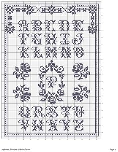 cross stitch pattern vintage alphabet sampler monochrome roses border corner