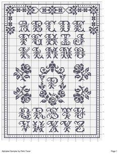 cross stitch pattern vintage alphabet sampler monochrome roses border corner