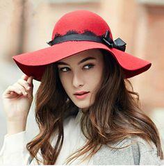 Elegance wide brim floppy hat for women bow bowler trilby