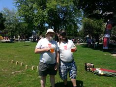 The Ottawa Brewery Market, July 5, 2014. There's a reason you've one hand free...for a beverage! ;) #kubb on! \m/ (Pat Gililland, left, Co-Founder Shane Hultquist, right)