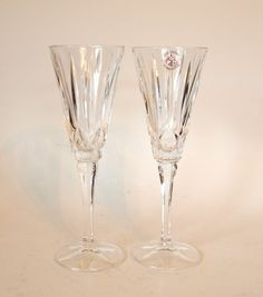 Vintage Lead Crystal Champagne Toasting Flutes by HouseofLucien