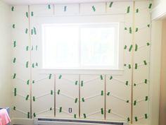 The Golden Herringbone Wall Metallic Gold Spray Paint, Gold Tape, Herringbone Wall, Accent Wall Designs, Accent Wall Bedroom, Statement Wall, Home Wallpaper, Wood Design, Wood Paneling