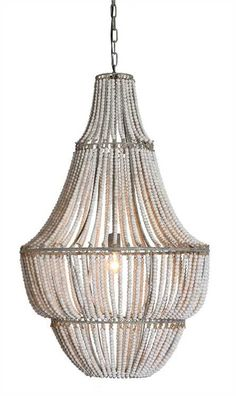 "Metal & Wood Beads Chandelier White DA5094 by Creative Co Op - Creative Co-Op 25-1/2"" Round X 41-1/4""H Metal & Wood Beads Chandelier White Wash DA5094SKU: DA5094Manufacturer: CreativeCo-OpFinish: White washMaterial: Metal & WoodCollection: FlirtShiping Type: YesUPC: 807472832005Cubic Feet: 0/1/19.496"