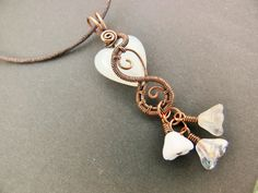 White Heart and Flowers Wirewrapped Steampunk Mini by adornjewels Pin to view later
