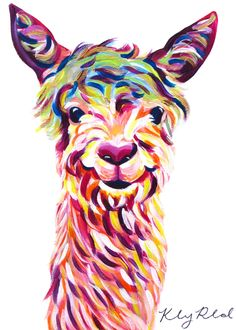 when i call — Llama Painting (12×16) by Kelsey Rowland- colorful...